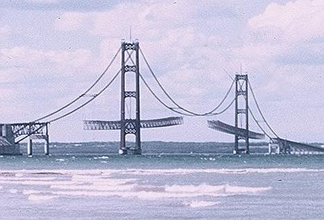 Mackinac Bridge Consturction 1956