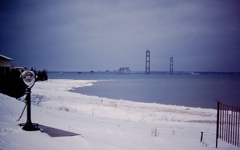 Mackinac Bridge construction in winter