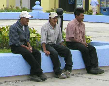 Three amigos resting in the San Miguel town square