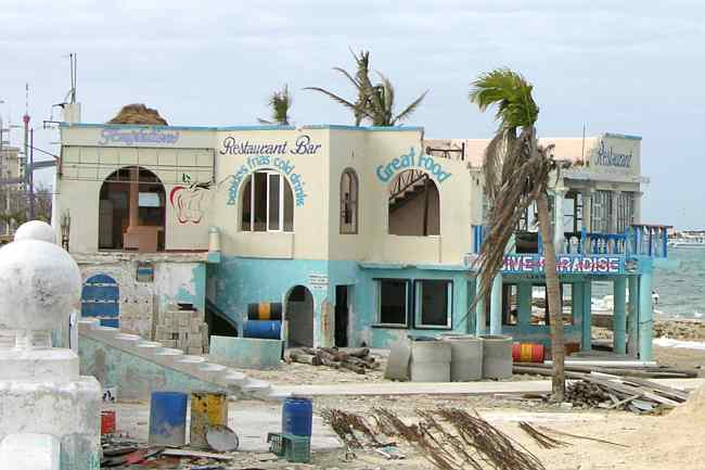 Hurrucane damaged Temptations Restaurant and Dive Paradise
