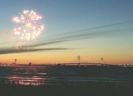 Mackinac Bridge and fireworks - July 4, 2002