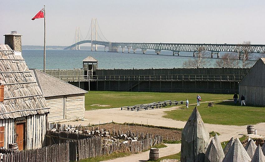 Fort Michilimackinac with Mackinac Bridge in background
