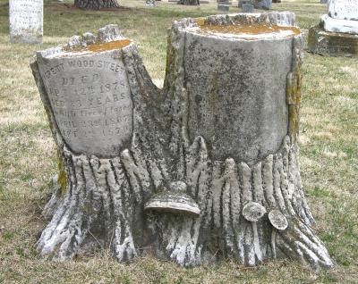 tree stump headstone