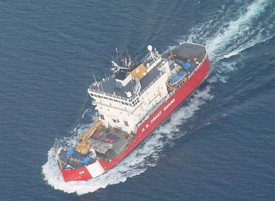 aerial photo of the Coast Guard Cutter Mackinaw